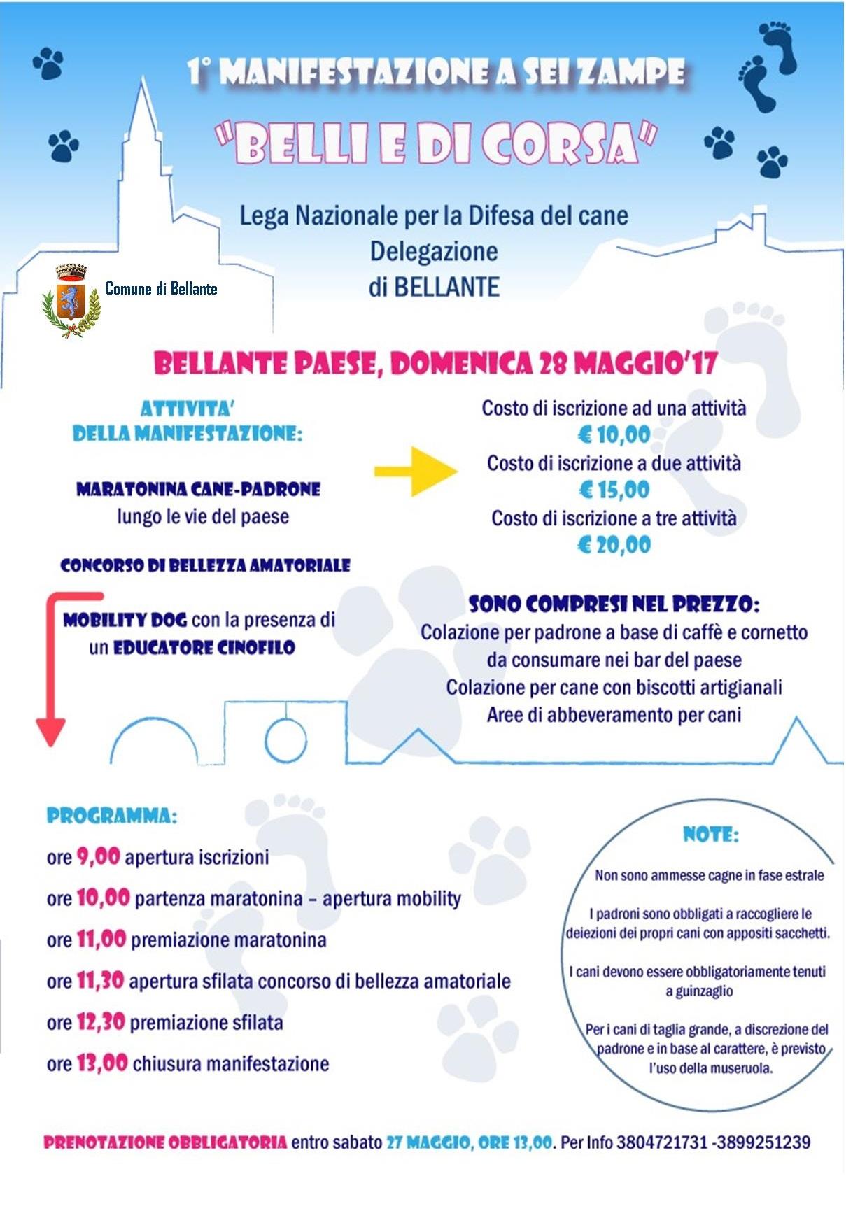 """1° MANIFESTAZIONE A 6 ZAMPE – """" BELLI E DI CORSA"""" – LEGA DIFESA DEL CANE BELLANTE"""