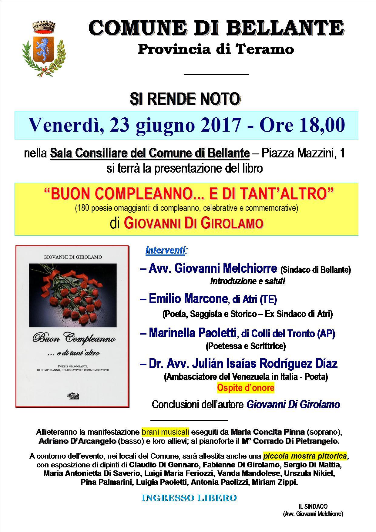 """PRESENTAZIONE DEL LIBRO """"BUON COMPLEANNO…E DI TANT'ALTRO"""" di Giovanni Di Girolamo 23 Giugno Ore 18.00"""