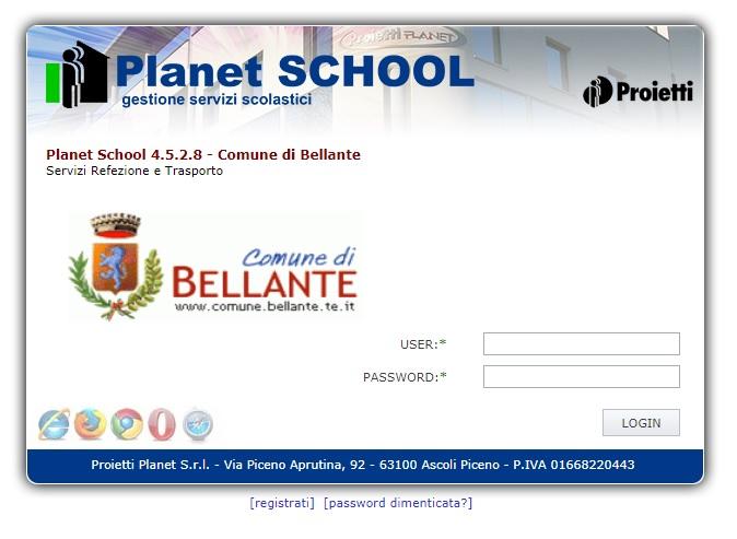 Attivato il nuovo servizio Planet School  dedicato alla gestione dei servizi scolastici