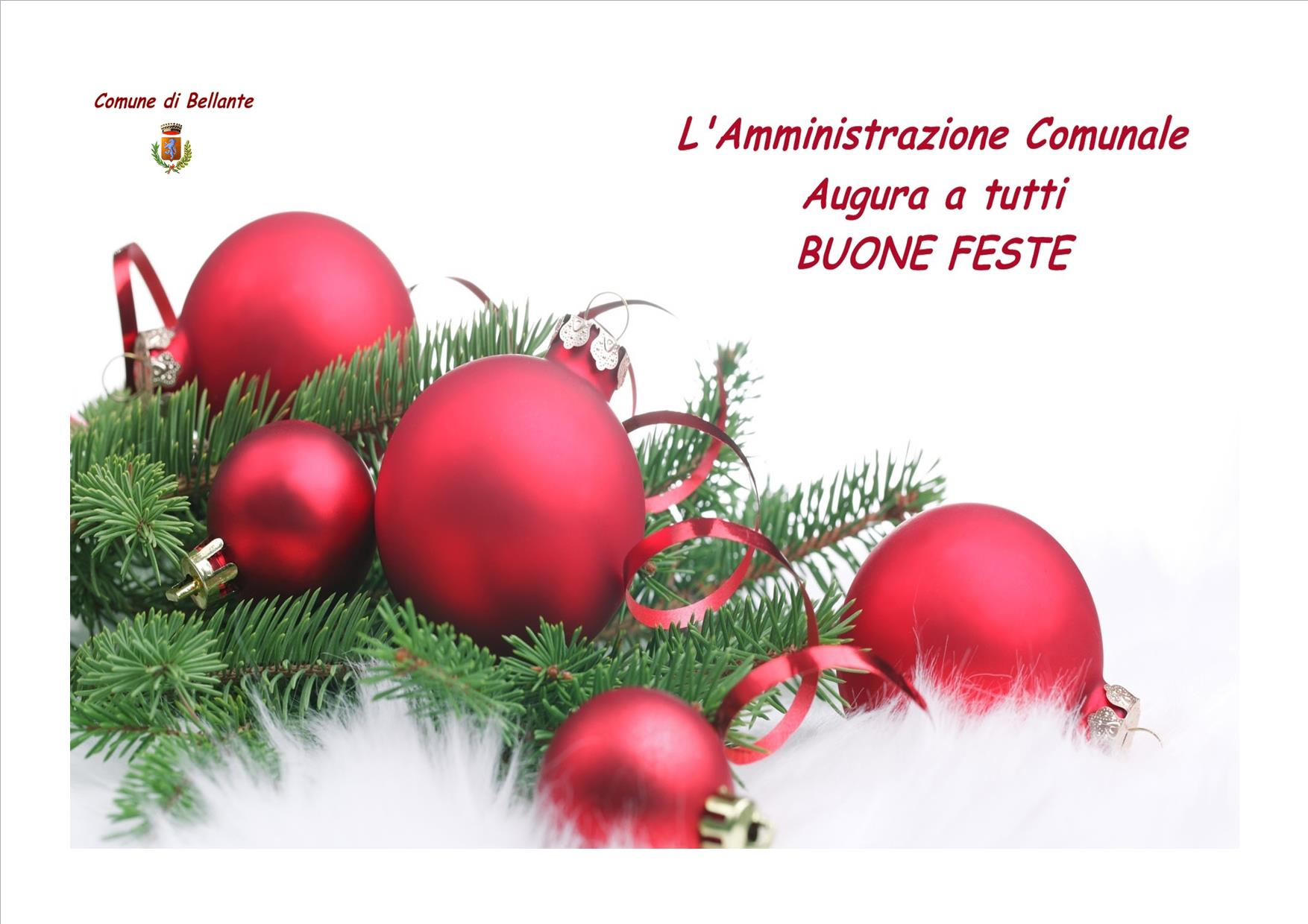 L'AMMINISTRAZIONE COMUNALE AUGURA BUONE FESTE