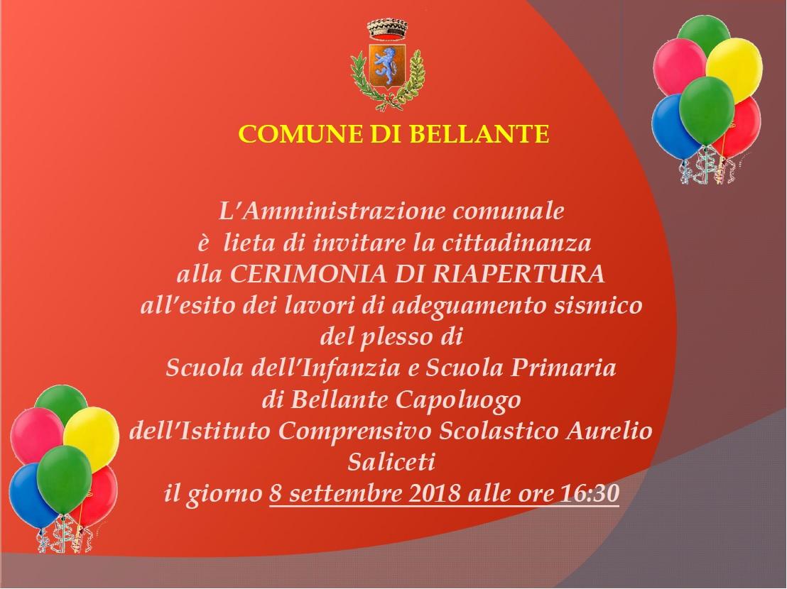 Inaugurazione Scuola dell'Infanzia e Scuola Primaria di Bellante Capoluogo. INVITO