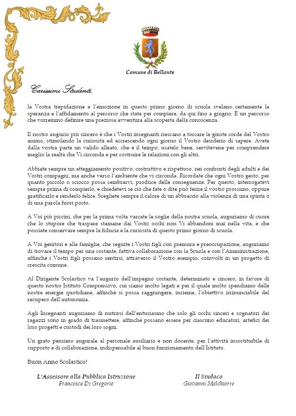 AUGURI DI BUON ANNO SCOLASTICO 2019/2020